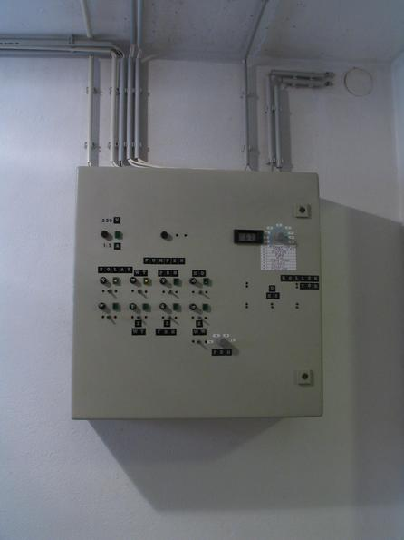 Regulation for solar equipment The sun of the house owner was one of the first apple ][ owners in Austria and chief of Enercon wind energy in Austria. No problem for him to design and construct the control system.