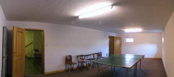 Ping pong in cellar Room for ping pong in the cellar. Far left is the door to the fallout shelter visible.
