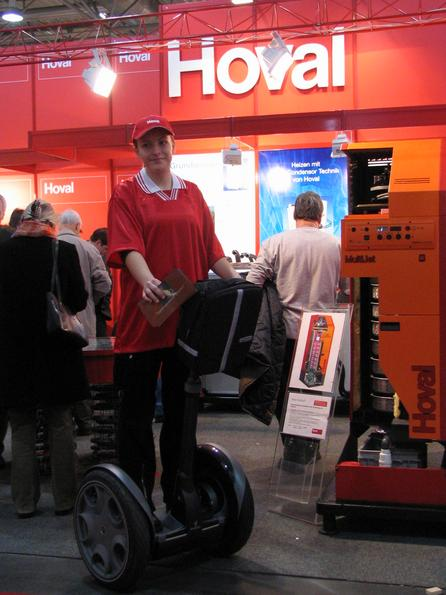 Segway sighted in Austria Hoval distributed flyers with one of the first segways in Austria on the construction fair in Vienna. A good promotion idea because the exotic Segway is very noticeable.