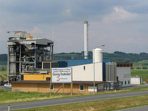 Powerplant Güssing: 2 MW BHKW - electric power and heat of wood The new type of powerplant using wood has 85% total efficiency. The electric power generation 25..28%. A realized EU-research project for the CO2 reduction.