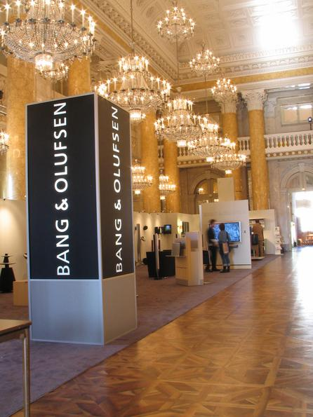 Bang & Olufsen in the ceremony hall of Viennese Hofburg Crystal candlesticks, parquet ground and marbel columns of the ceremony hall create a luxurious ambience to present  the designer mark Bang & Olufsen well.
