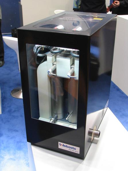 CHP fuel cell instead of combustion engine CHP had been only economically for large consumers. This fuel cell for Diesel or gas with 1 kW electricity and 4,5 kW heat will make the use in single family houses possible.