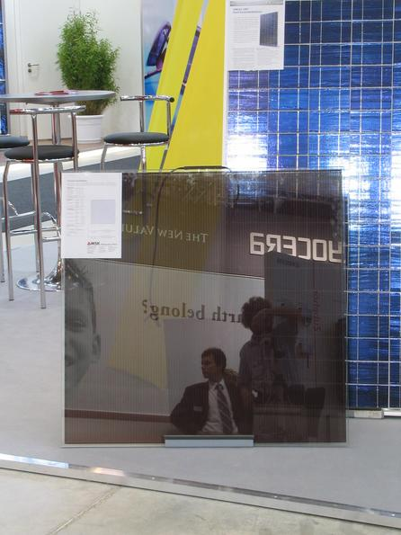 Photovoltaic window MSK - Making Solar Work shows a photovoltaic window. New possibilities for the building integration of photovoltaic at office buildings and shopping centers.