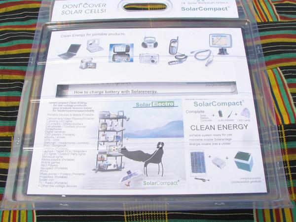 Solar equipment packing SolarCompact improved the packaging since 2005. On the rearside of the blister packaging are devices shown possible to power with a small solar equipment