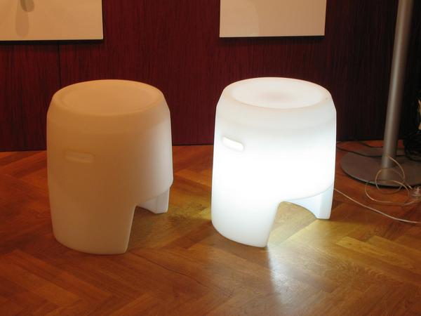 Luminous stool This stool with built in light is useable for an indrect room illumination. The two stools can be put together to a desk