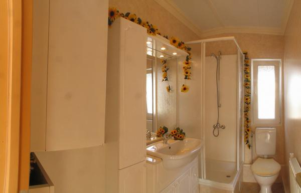 Bathroom in mobile home Tobs 860x610 Like usual in mobile homes, there is in the bathroom no bathtub, but only a cabin for shower