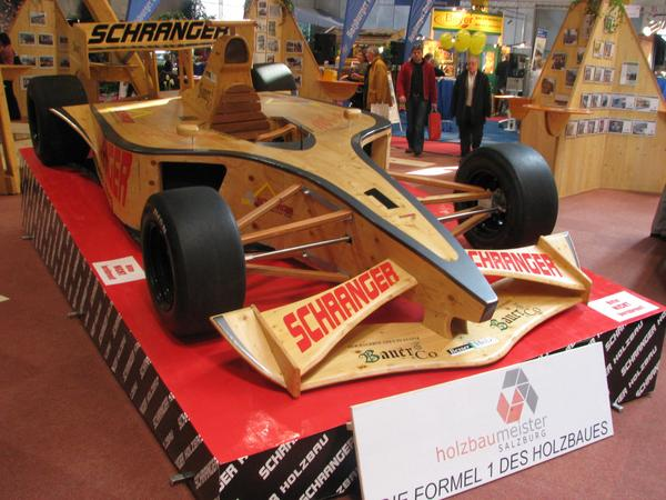 Formula 1 wood model The guild of Salzburg's carpenter showed on their booth this wooden model of a formula 1 race car as an eye catcher.