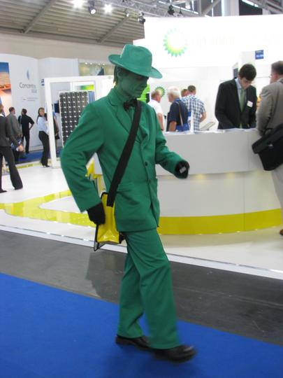 BP greenwashing in perfection At the BP fair booth at the Intersolar 2010 photovoltaic fair a green actor. The term ''greenwaching'' in perfection visualised.