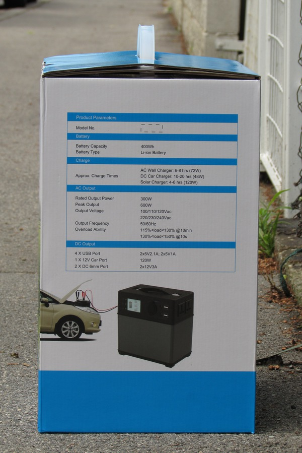 Portable solar system for supply up to refrigerator On the box show the 4 sides, what the device can do everything. Input 230 V AC via mains adapter, 12V car connection, solar input, output USB, 12 V, start a car and 230 V AC .. Picture 1