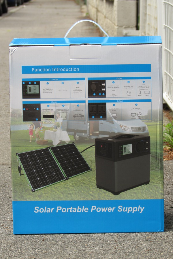 Portable solar system for supply up to refrigerator On the box show the 4 sides, what the device can do everything. Input 230 V AC via mains adapter, 12V car connection, solar input, output USB, 12 V, start a car and 230 V AC .. Picture 4